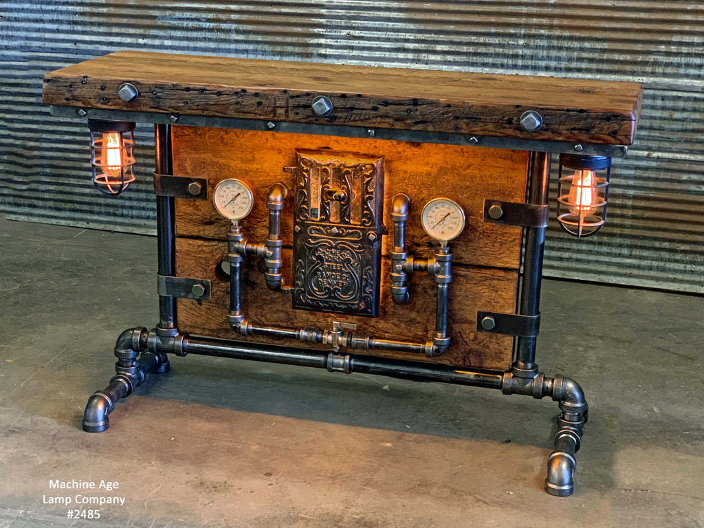 Steampunk Industrial / Barn Wood / Table / Console / Bar / Lighted / Table #2485