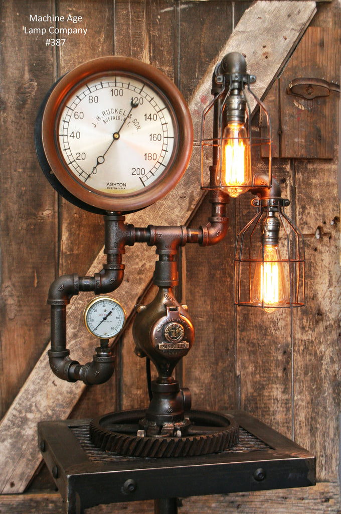 "Steampunk Lamp, Antique 10"" Steam Gauge and Gear Base #387 - SOLD"