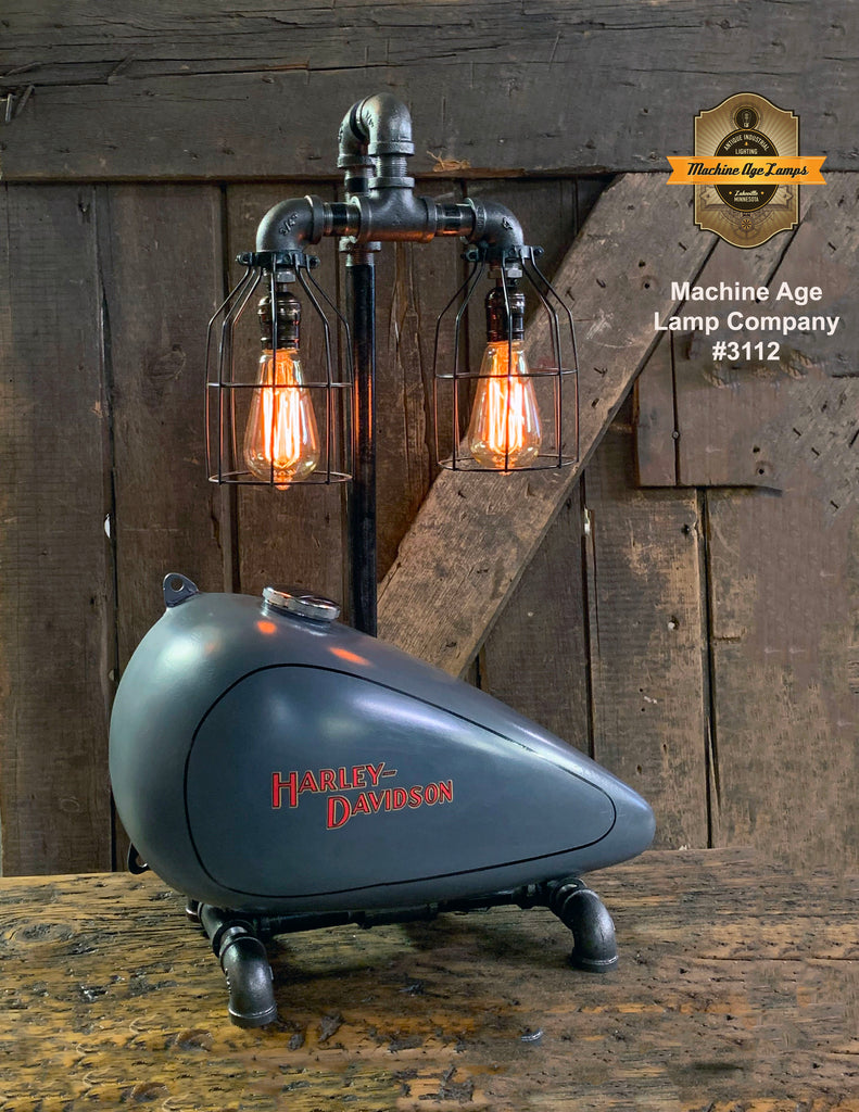 Steampunk Industrial, Original Motorcycle HD Gas Tank Lamp  #3112