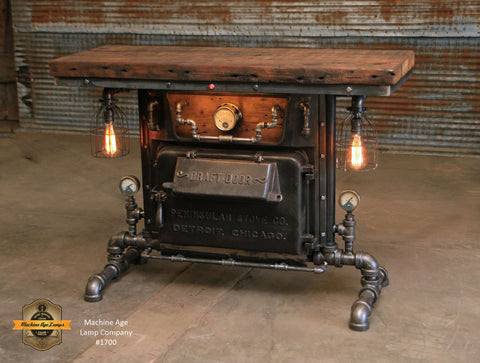 Steampunk Industrial / Boiler Furnace Door Table / Console / BarnWood top / Table #1700