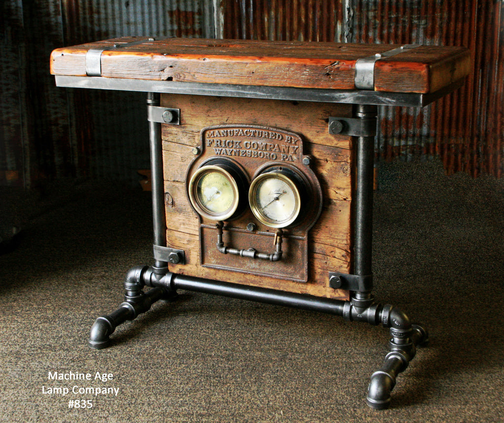 Steampunk Industrial Barn Wood Antique Gauge Board Stand Table #835 -