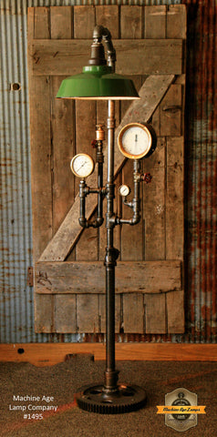 Steampunk Industrial Floor Lamp / Steam Gauge / Shade / Gear / Lamp #1495
