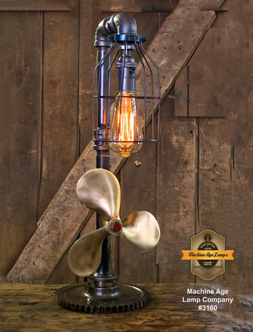 Steampunk Industrial / Boat Marine Nautical  / Antique Brass Propeller / Lamp / Gear Base #3100