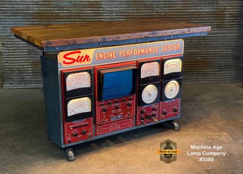Steampunk Industrial / Antique Sun Engine Analyzer / Automotive / Barn wood Table / #3380