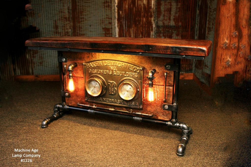 Steampunk Industrial Table/ Console / Side/ Hallway / Gauge Board /  #1226 - SOLD
