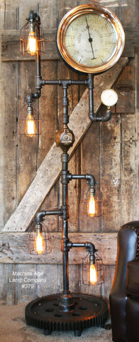 Steampunk Industrial Steam Gauge and Gear Floor Lamp #379