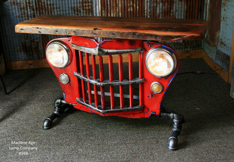 "Steampunk Industrial Table, Jeep Willys Console Table, ""Red"" ""Custom"" 948"