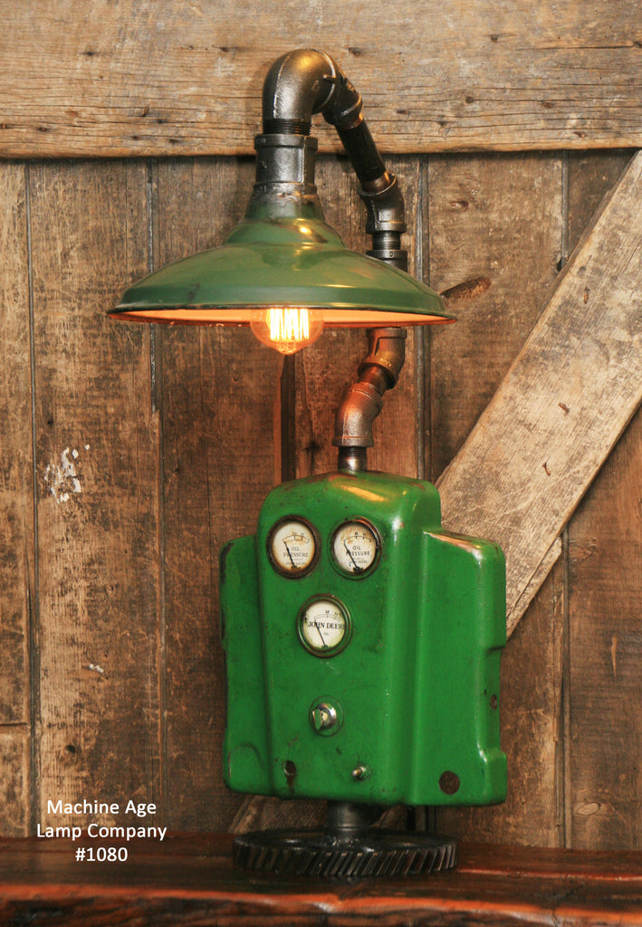 Green John Deere Lamp Shade : Steampunk industrial john deere lamp farm tractor barn