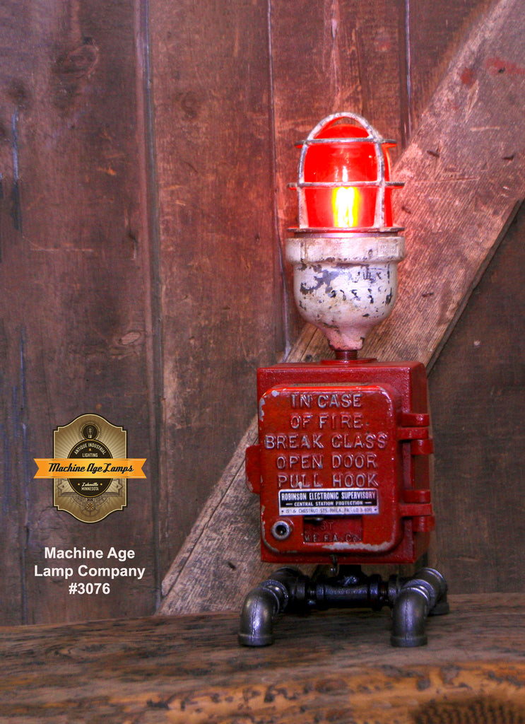 Steampunk Industrial / Fire Alarm Call Box Switch / Gear Base / Fireman / #3076
