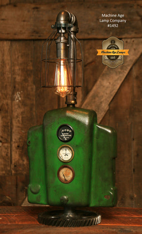 Steampunk Industrial Lamp / John Deere Farm Tractor / Lamp #1492