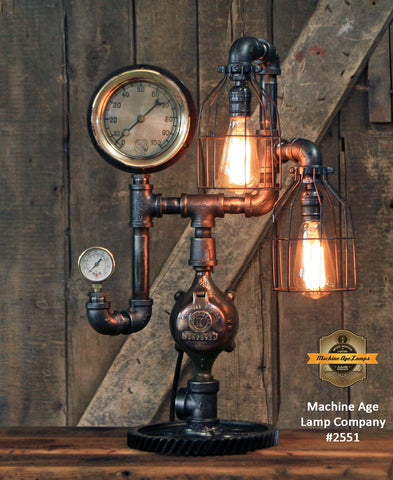 Steampunk Industrial Machine Age Lamp / Steam Gauge / Gear / Steam Gauge / Lamp #2551