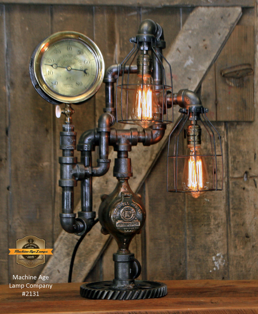 Steampunk Industrial Machine Age Lamp / Steam Gauge /  Lamp #2131