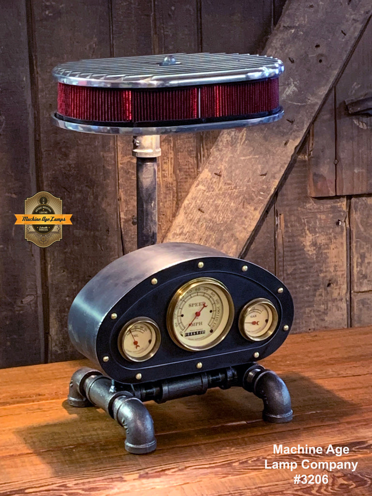Steampunk Industrial / Antique Vintage Gauges / Automotive  / Rat  Hot rod / Lamp #3206