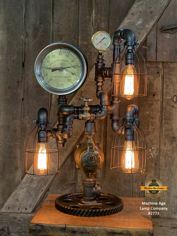 Steampunk Industrial / Machine Age Lamp / Antique Steam Gauge  / Fairbanks Morse / Lamp #2773