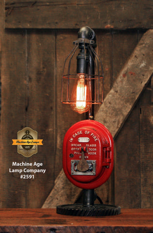 Steampunk Industrial / Machine Age Lamp / Fireman / Police / Antique Call box / Alarm / Lamp #2591