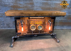 Steampunk Industrial / Antique Steam Gauge / Barn Wood / table #2702