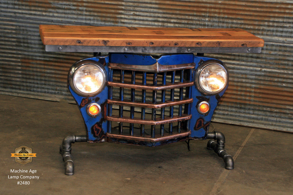 Steampunk Industrial / Original vintage 50's Jeep Willys Grille / Table Sofa Hallway / Blue / Automotive  / Table #2480