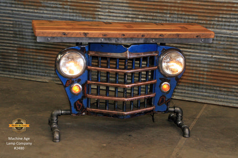 Steampunk Industrial / Original vintage 50's Jeep Willys Grille / Table Sofa Hallway / Blue / Table #2480