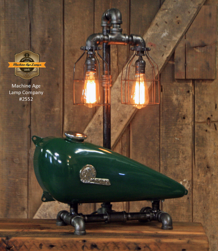 Steampunk Industrial / 1930's Indian Scout Gas Tank Lamp / Motorcycle Lamp #2522