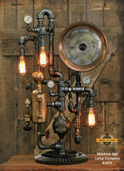 Steampunk Industrial / Steam Gauge Lamp / General Electric / Oiler / Lamp #2071