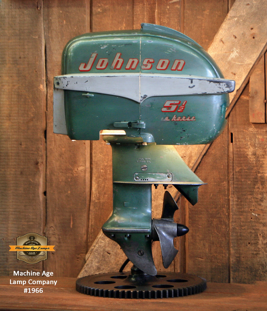 Steampunk Industrial / Antique Johnson Boat Motor / Nautical / Marine / Cabin / Lamp #1966 sold