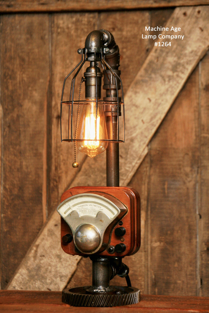 Steampunk Industrial / Antique Electrial Meter / Gear / Lamp / #1264 sold