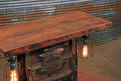 Steampunk Industrial / Stove Boiler Door Table / Console / Steam Gauge / Barn wood / #1607 sold