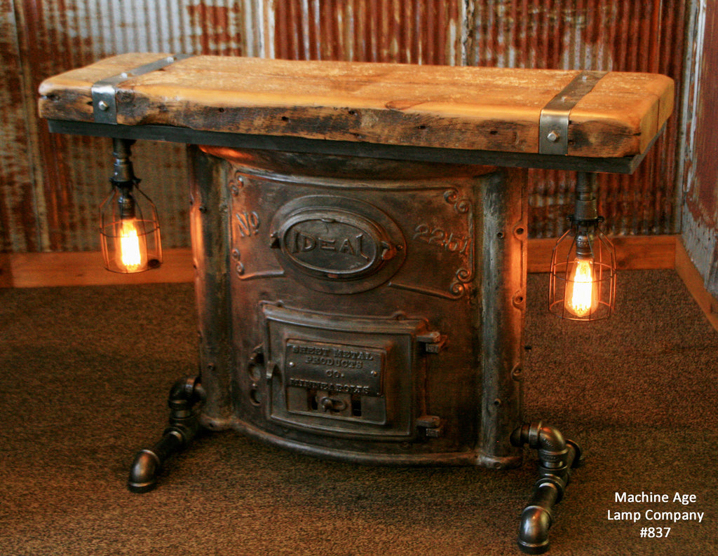 Steampunk Industrial Boiler Door Console Table Or Lamp