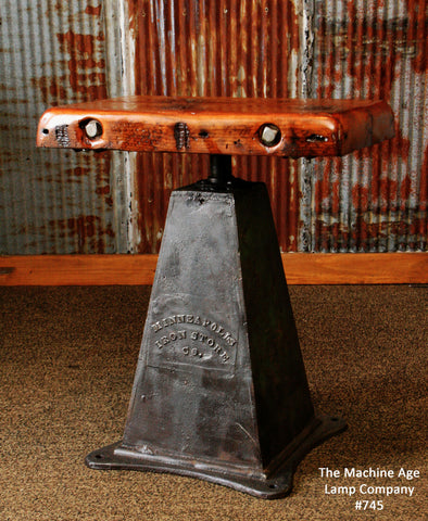 "Antique Industrial Table Lamp Stand  Iron Base ""Minneapolis MN"" Barn wood top #745"