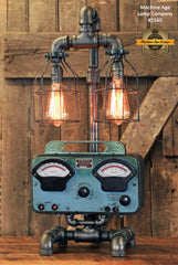 Steampunk Industrial Lamp / Antique Sun Volt Meter / Automotive /  #1565
