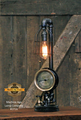 Steampunk Industrial Lamp / Antique Utica NY Steam Gauge / Gear / Lamp #2716