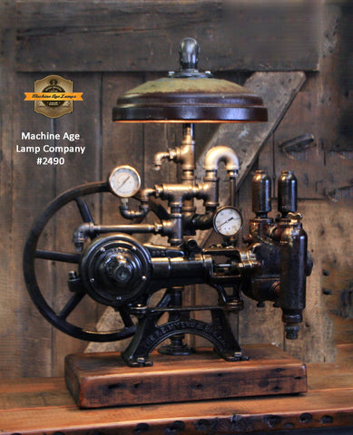 Steampunk Industrial / Machine Age Lamp / Antique F.E. Myers  / Well Pump / Farm  / Barnwood / #2490