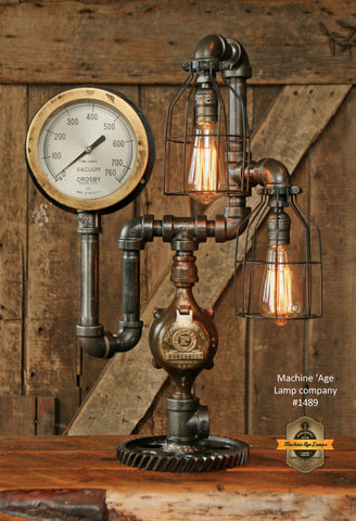 Steampunk Industrial Lamp / Gear / Steam Gauge / #1489