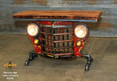 Steampunk Industrial / Original vintage 50's Jeep Willys Grille / Table Sofa Hallway / RED / Table #2180 sold