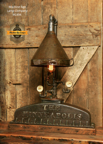 Steampunk Industrial Lamp / Minneapolis Tractor / Farm / Radiator / Lamp #1494