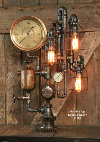 Steampunk Industrial Lamp / Antique Brass Oiler and Steam Gauge / #1298