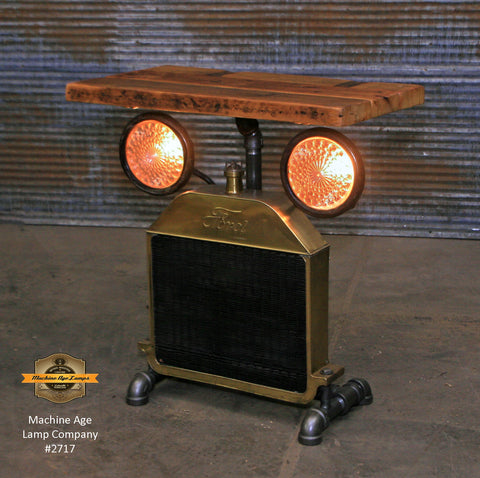Steampunk Industrial Table / Antique Ford Model T Radiator and Headlamps / Automotive  / Barnwood / Table #2717