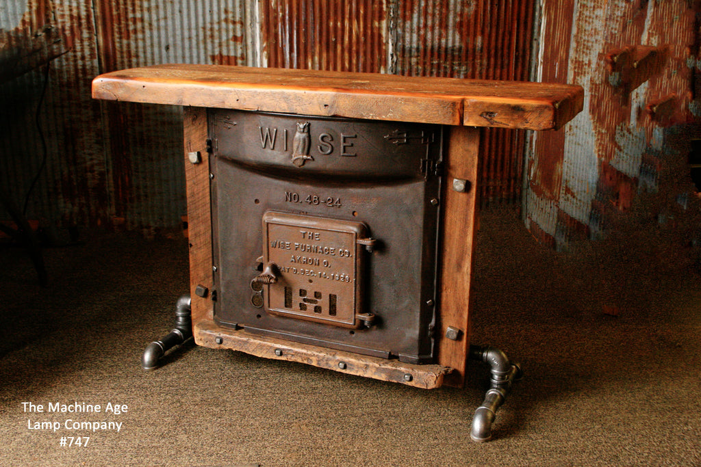 Industrial Antique Furnace Door Lamp Stand Table Barn Wood Top 747