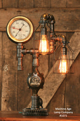 Steampunk Industrial Lamp, Altitude Steam Gauge and Gear #1071 - SOLD