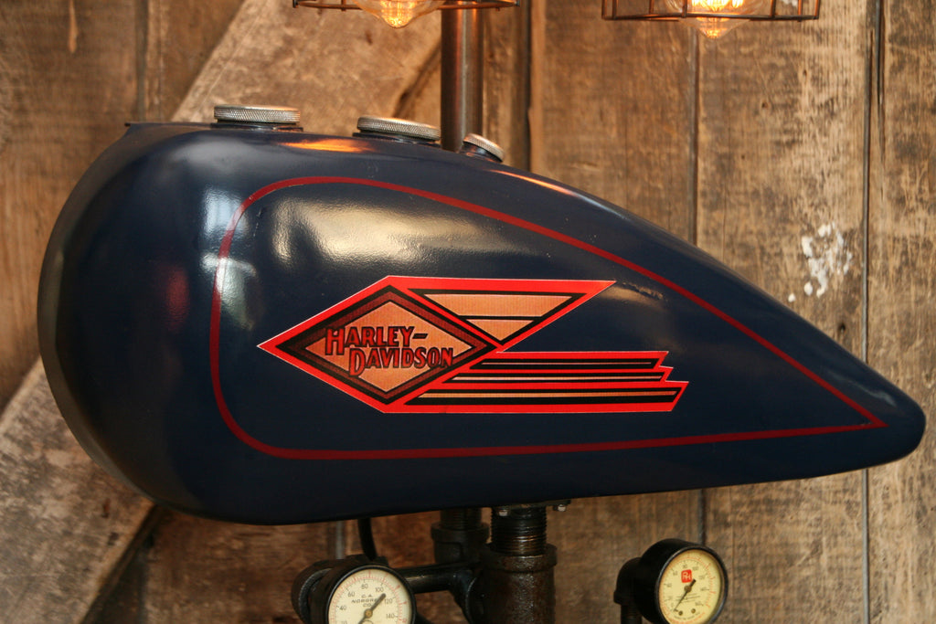Industrial Lamp, Antique 1935 Harley Davidson Motorcycle Gas