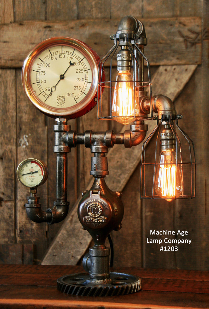 Steampunk Industrial Steam Gauge Lamp, #1203 - SOLD