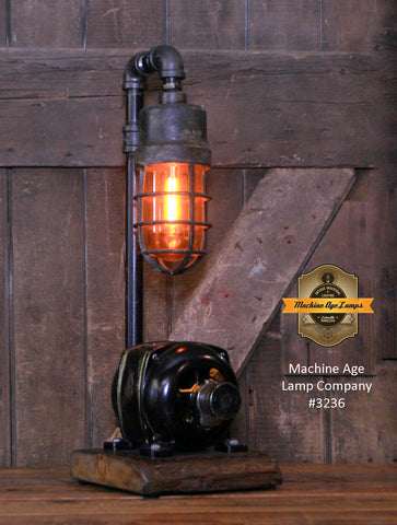 Steampunk Industrial / Vaile - Kimes Ohio Electric Motor / Barn Wood / Lamp #3236