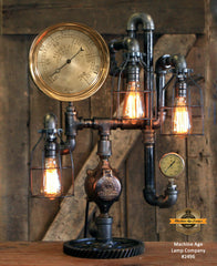 "Steampunk Industrial / 8"" Steam Gauge / Gear / Made to order / Gear Base / Lamp #2496"
