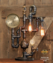 Steampunk Industrial Machine Age Lamp / Steam Gauge / Oiler / Gear / Camden NJ / #2088