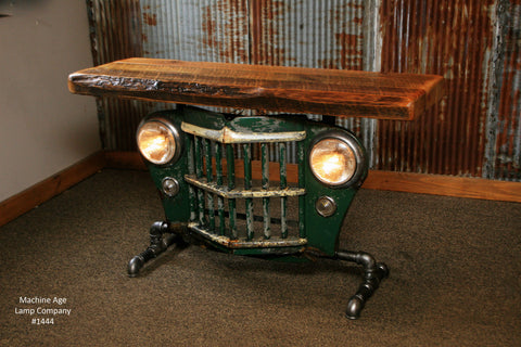 Steampunk Industrial Antique Jeep Willys Grille Table, Console - #1444