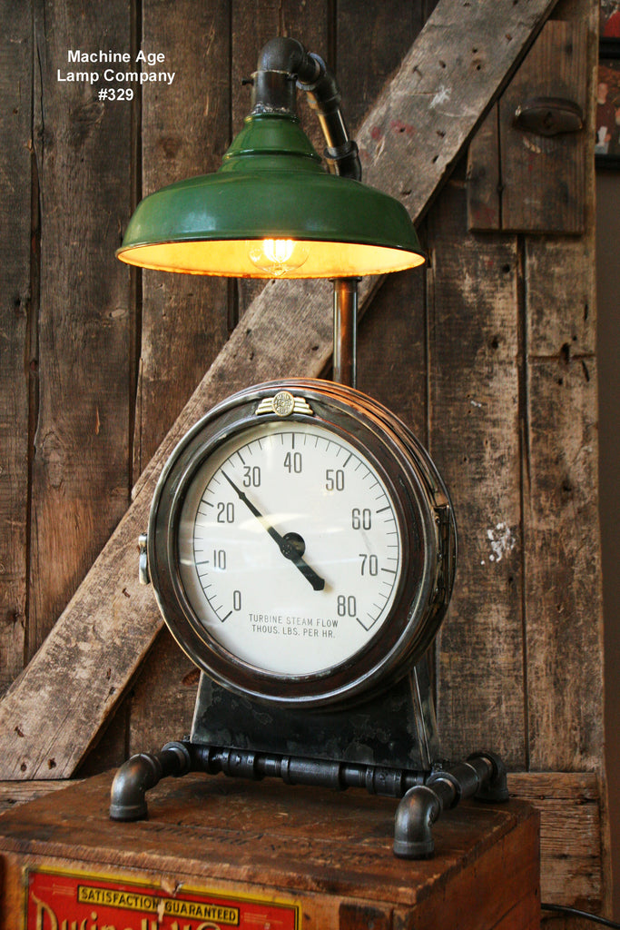 Steampunk Industrial Lamp, Steam Gauge  #329 - SOLD