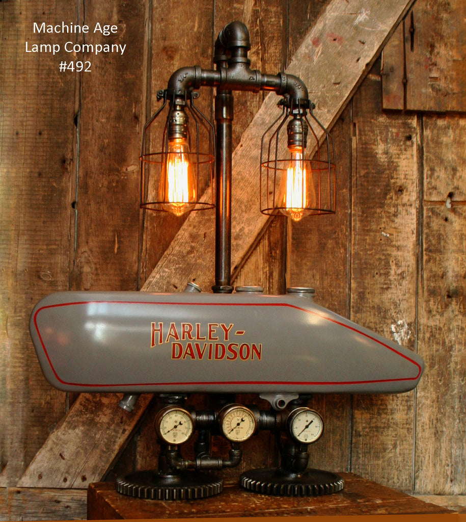 Steampunk Industrial Lamp, 1916 Antique Harley Davidson Motorcycle Gas Tank Light - Lamp #492 - SOLD
