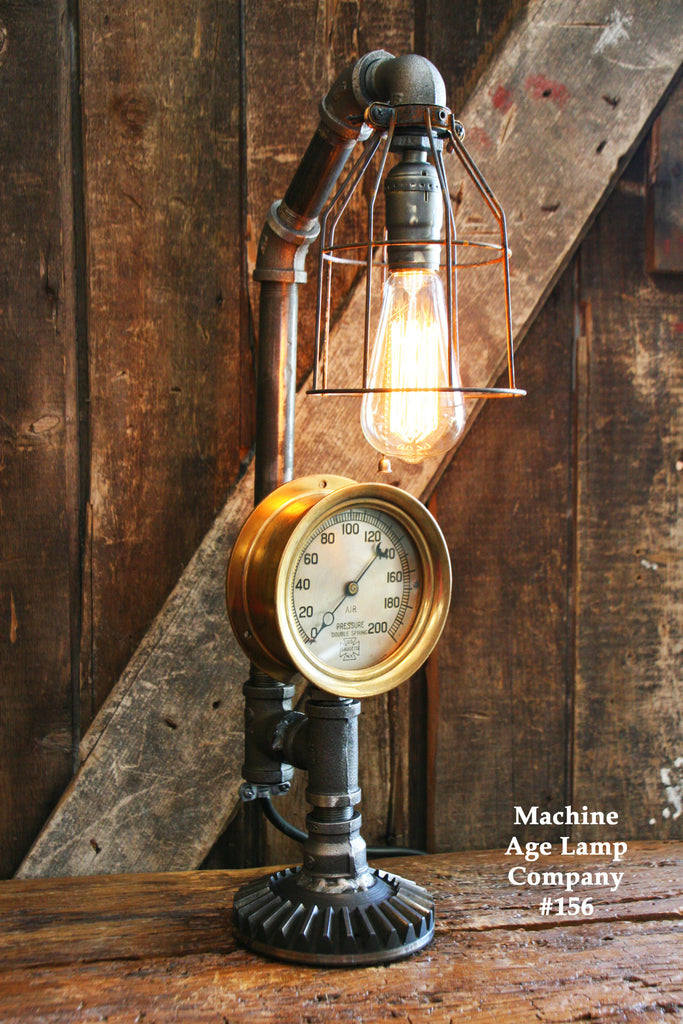 Steampunk Lamp, Steam Gauge Lighting #156 - SOLD