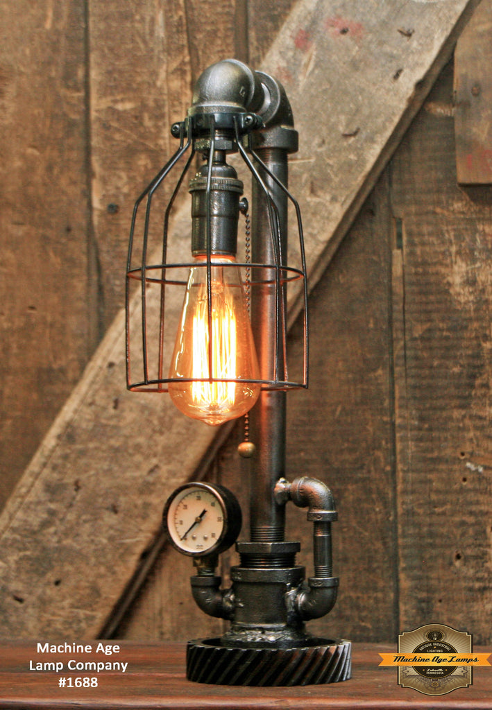 Steampunk Industrial / Gear / Steam Gauge / Lamp #1688
