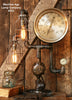 "Steampunk Lamp, Antique 9"" Steam Gauge and Gear Base #332 - SOLD"